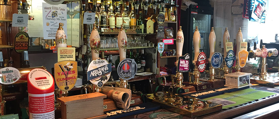 Huge selection of real ales on draught at The Manor Arms